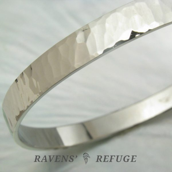 6mm hammered white gold bangle