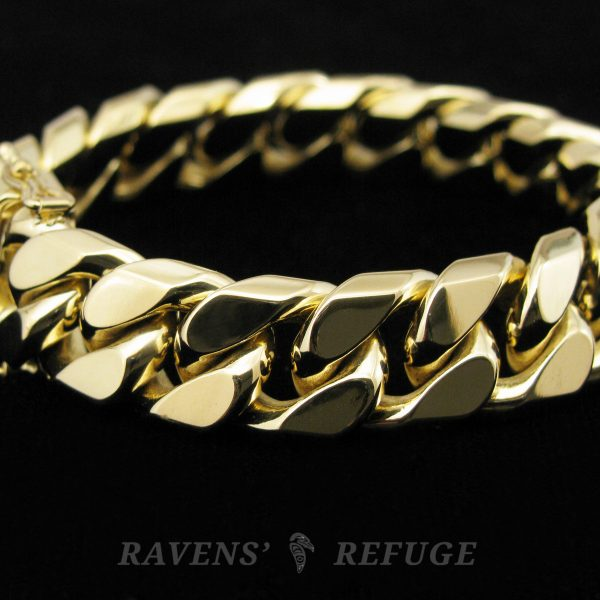 18K heavy curb link bracelet