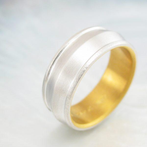 8mm platinum ring knife edge wedding band