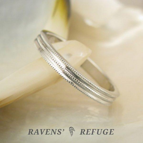 platinum milgrain wedding band – unique stacking ring