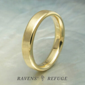 flat matte wedding band with polished beveled edges