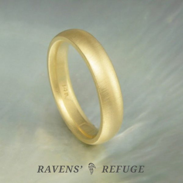 classic gold wedding band – hand forged wedding ring