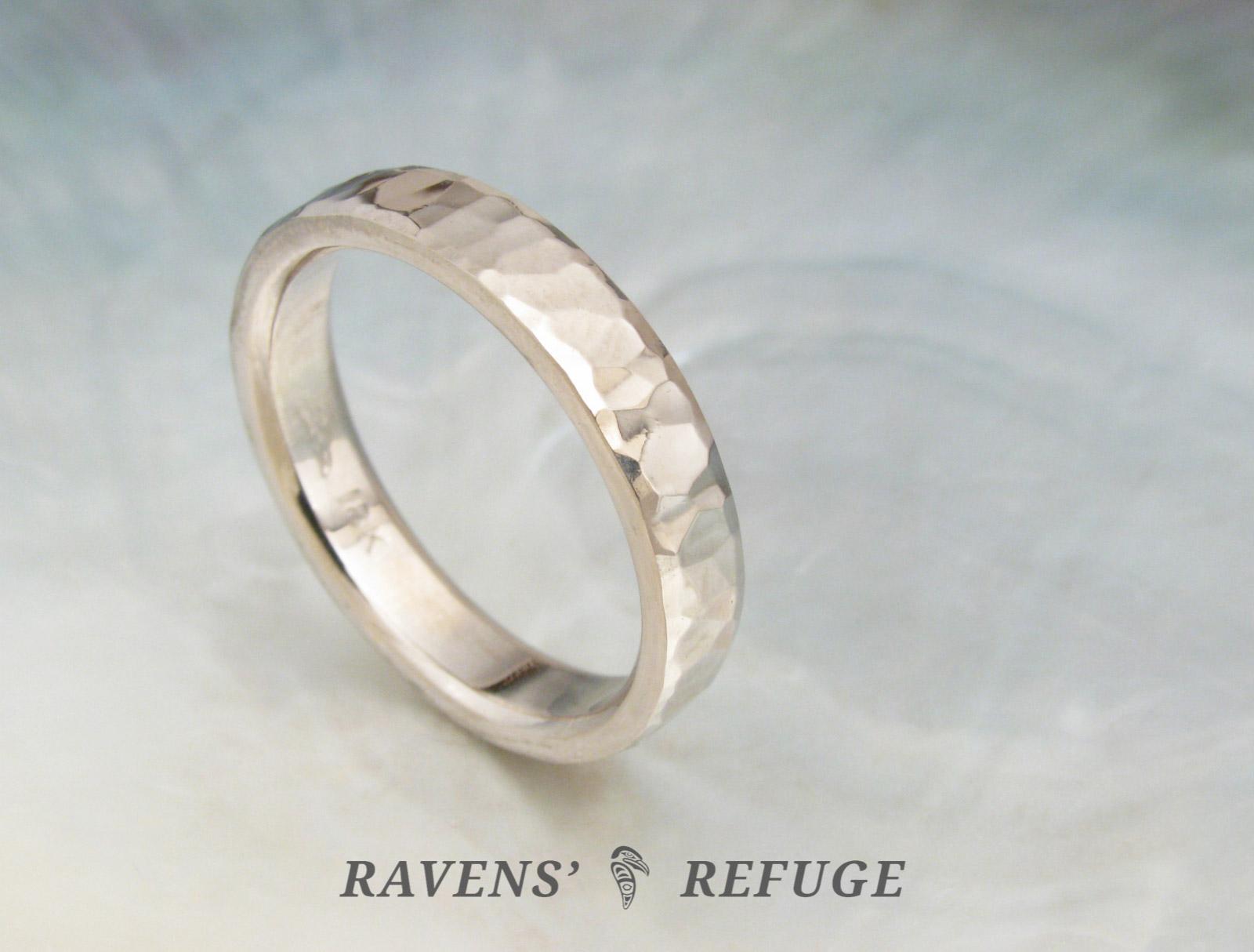 unique wedding band ring hammered in 18k palladium white