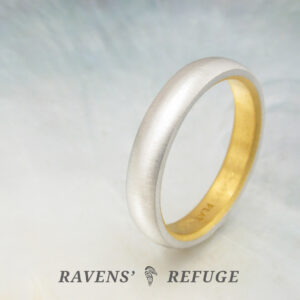 4mm platinum and 24k gold wedding band — classic half round ring