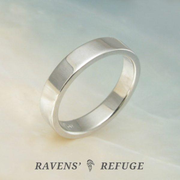 4mm platinum wedding band – flat pipe cut ring