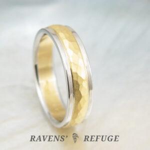 handmade men's wedding ring – 22k gold and platinum band