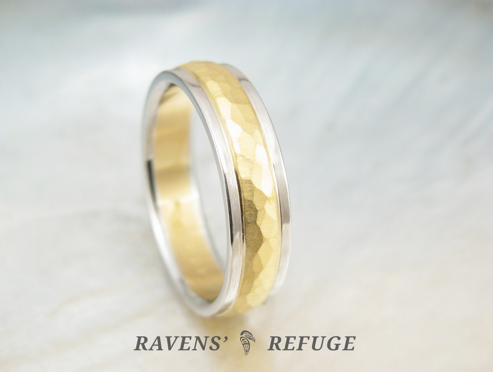 Handmade Men S Wedding Ring 22k Gold And Platinum Band Ravens