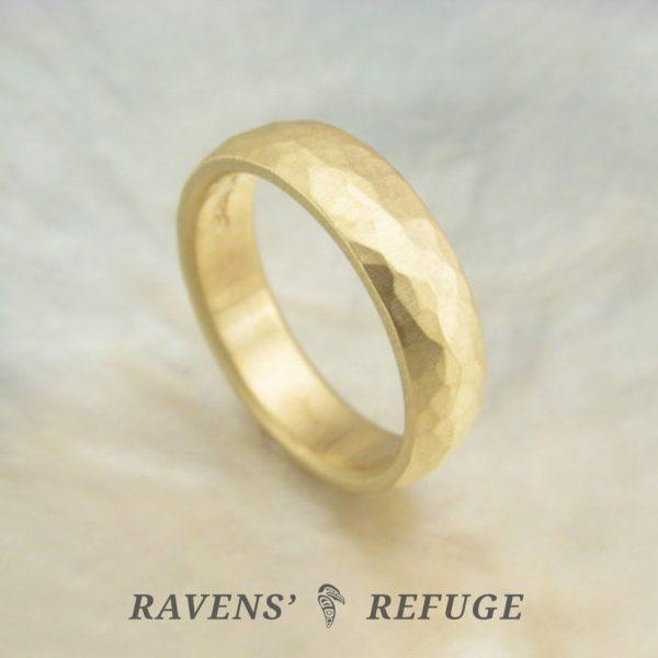 organic wedding band – hammered D shape wedding ring