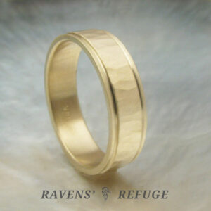 eco friendly men's wedding band with hand hammered finish