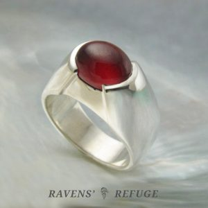 unique garnet cabochon ring, artisan handmade in sterling silver