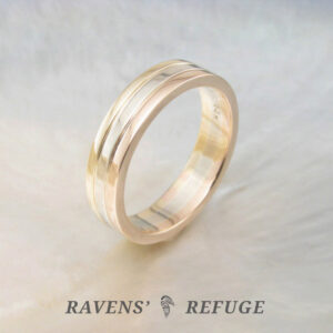 handmade tricolor gold ring – sustainable wedding band