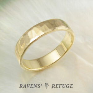 hand forged hammered gold band ring