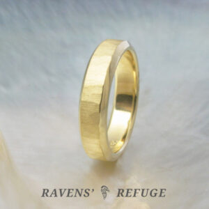 contemporary men's wedding band with matte hammered finish