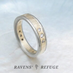 hammered two tone wedding band with diamonds, artisan handmade