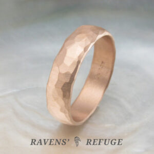 rugged men's wedding band with hammered finish