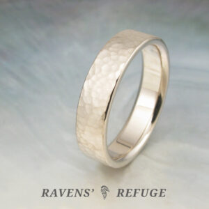flat wedding band with hammered finish, artisan made