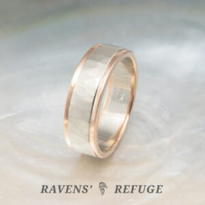 white and rose gold wedding band – men's two tone ring