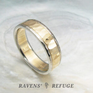 unique wedding band for men or women – hammered two tone ring