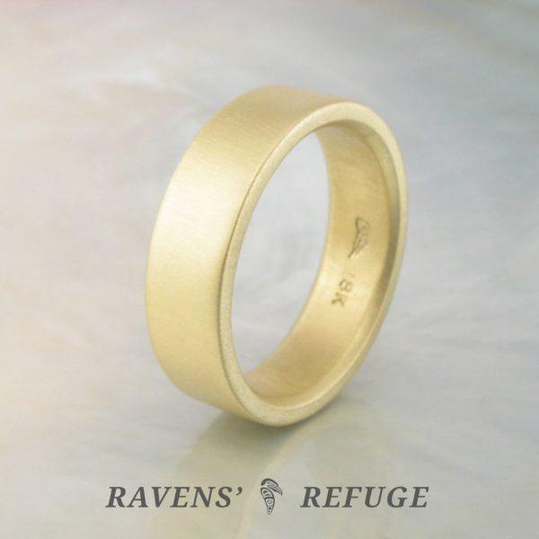 flat men's wedding band, hand forged