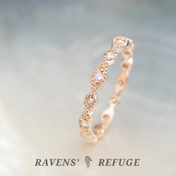 bead and eye wedding ring – beaded eternity band