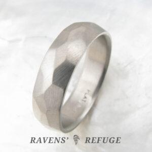 faceted men's wedding ring – 6mm platinum band