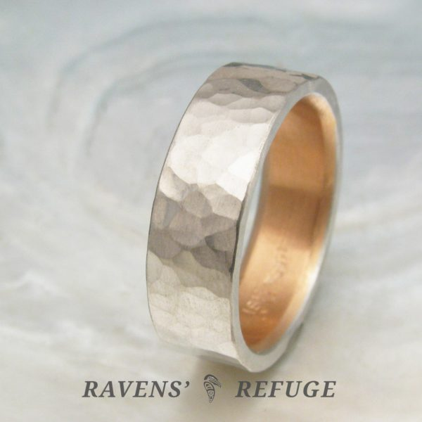 6mm platinum and rose gold wedding band with hammered finish