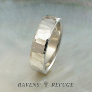 unique platinum wedding band ring with hand hammered finish