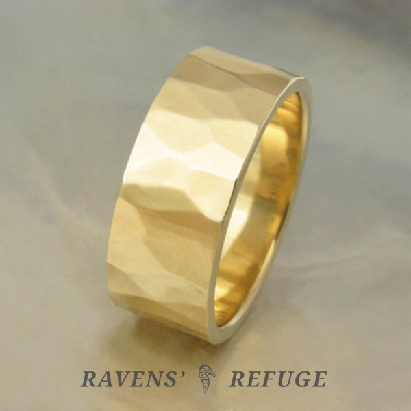 sustainable wedding band – hammered gold ring, handmade