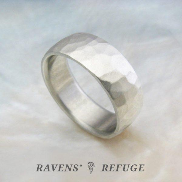 rustic men's wedding band – 7mm comfort fit ring