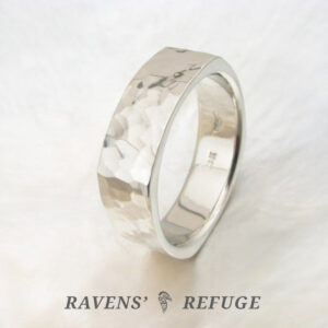 hammered square ring – modern wedding band for men