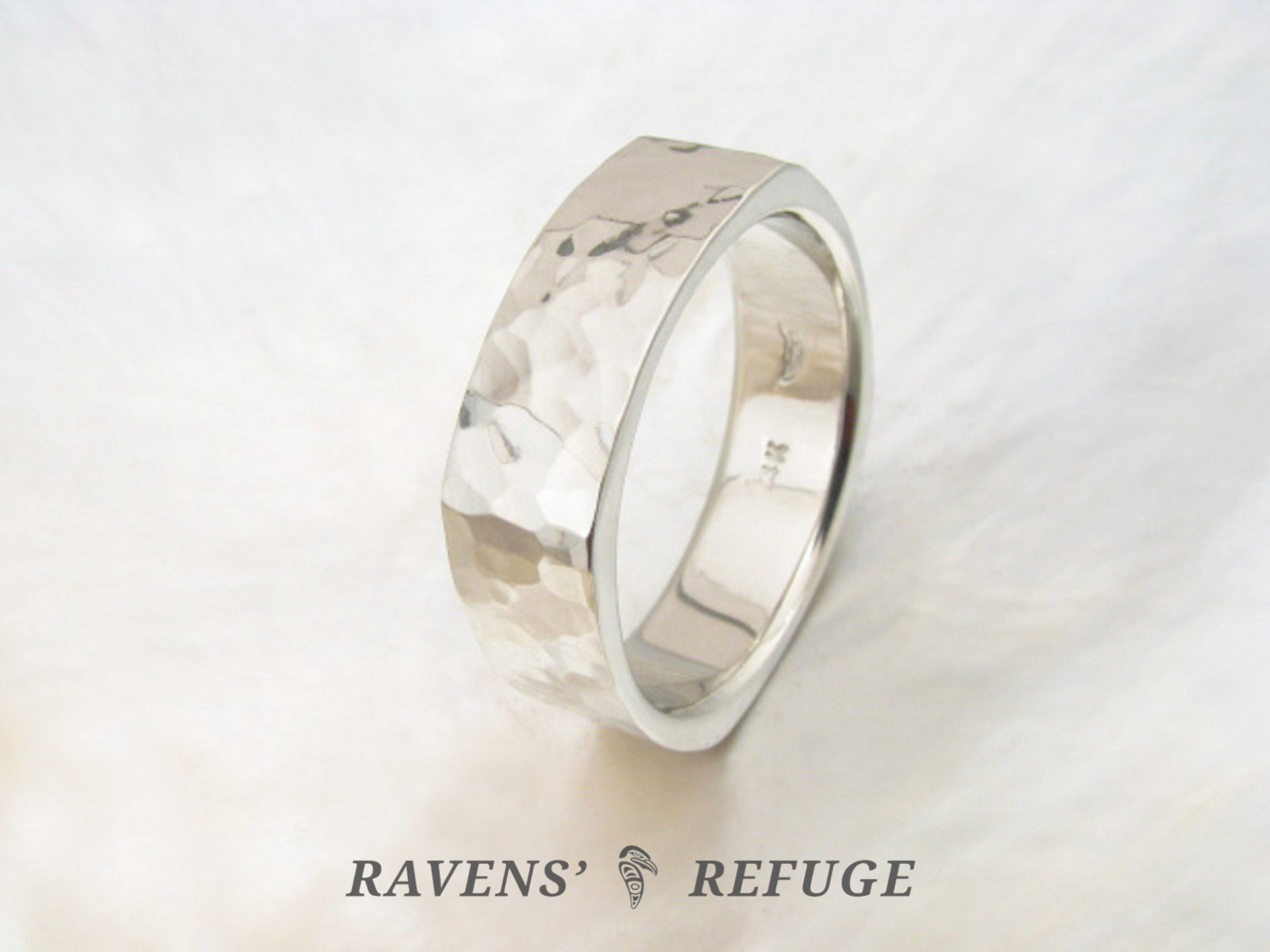 Hammered Square Ring Modern Wedding Band