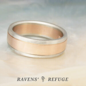 men's two tone ring -- 7mm white gold and rose gold wedding band with flat profile and comfort fit