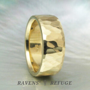 handmade gold ring – unique hammered wedding band