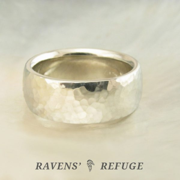 recycled gold wedding band for men or women – 7mm hammered ring