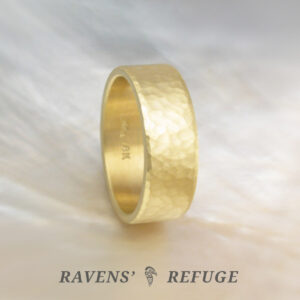 hand forged ring – 18k gold flat hammered wedding band