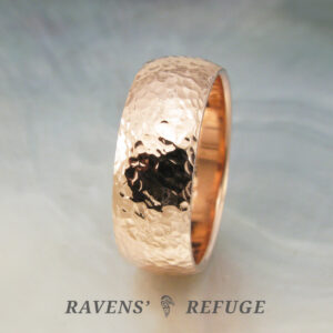 hammered ring -- 8mm wide wedding band in rose gold with a low dome profile