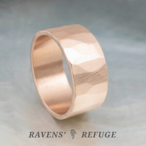 organic wedding band – rustic gold ring – 9mm wide men's band