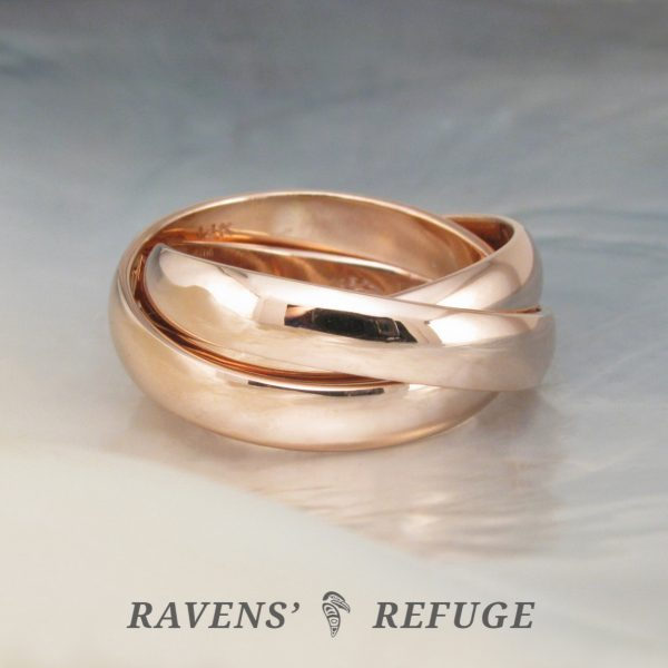 14k gold rolling ring – chunky interlocking bands