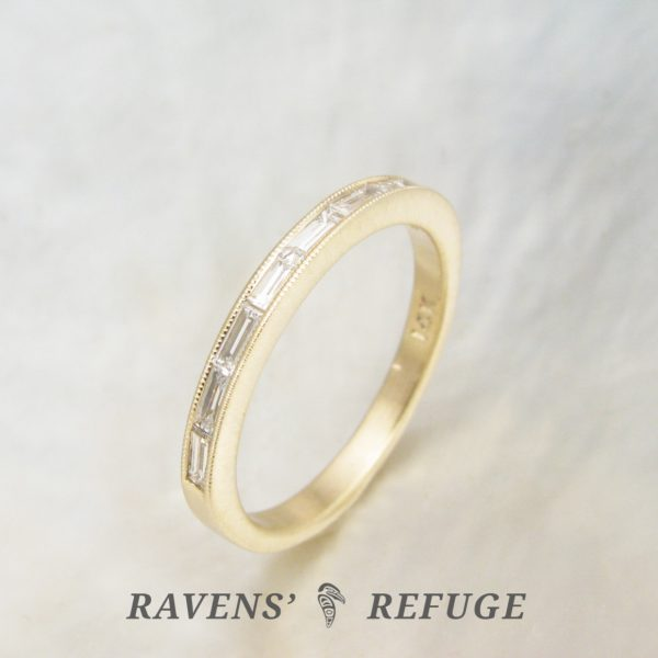 dainty channel baguette ring with milgrain, low profile engagement ring