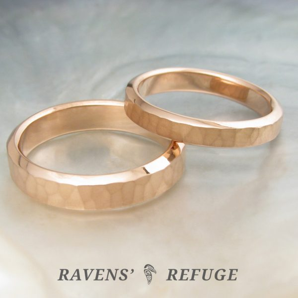 hammered rose gold rings – unconventional wedding bands