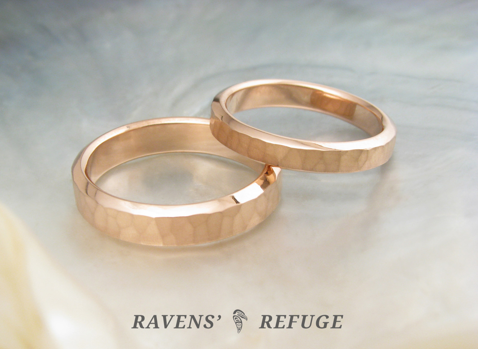 hammered rose gold rings unconventional wedding bands - Unconventional Wedding Rings