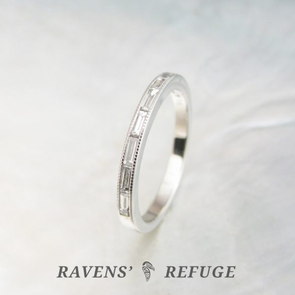 platinum baguette diamond ring – dainty wedding band, handmade ...