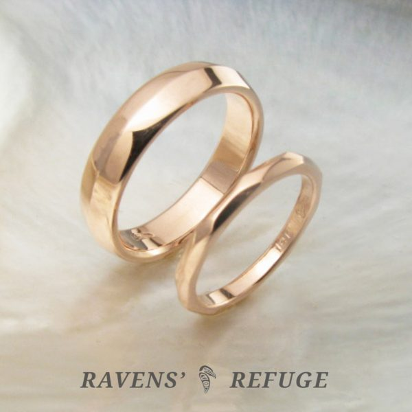 his and hers rose gold wedding rings, artisan handmade