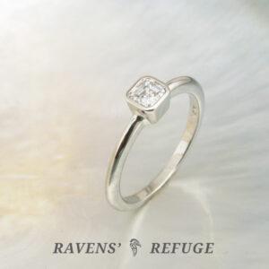 asscher solitaire engagement ring, bezel set, artisan handmade