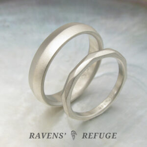 hand forged white gold wedding bands, his and hers