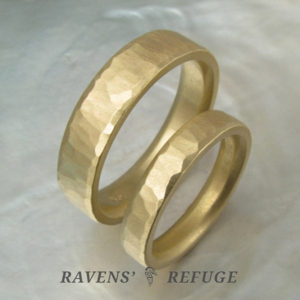 hammered gold rings – matching wedding bands
