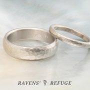 hammered 18k palladium white gold wedding bands