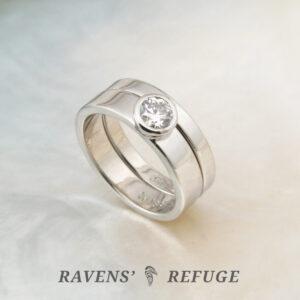 simple engagement ring – palladium bridal set with bezel diamond