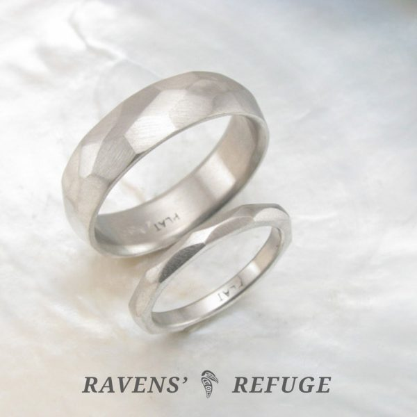 hand forged platinum wedding band set, his and hers artisan wedding rings