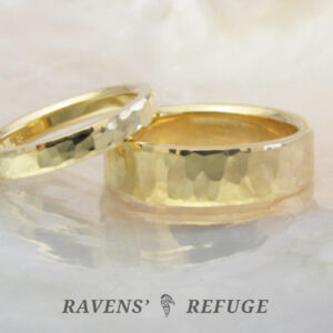 his hers 18k wedding bands with hand hammered finish